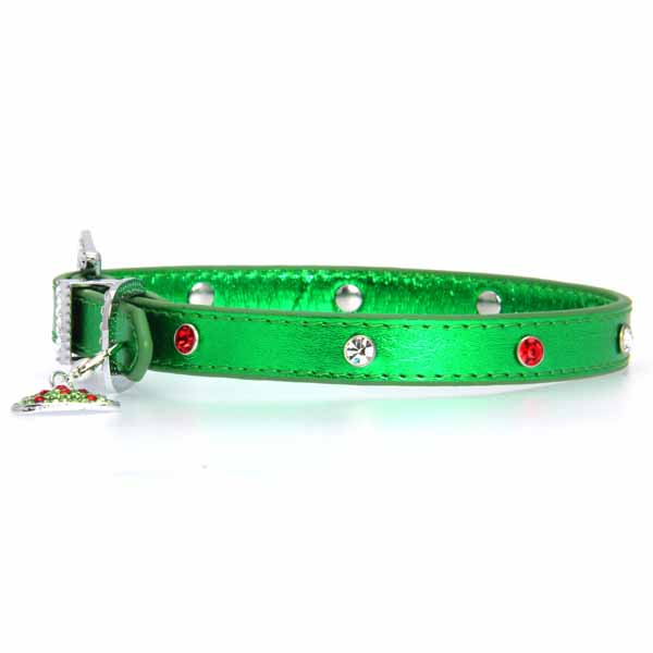 Foxy Metallic Green Christmas Collar w/Christmas Tree Charm by Cha-Cha Couture