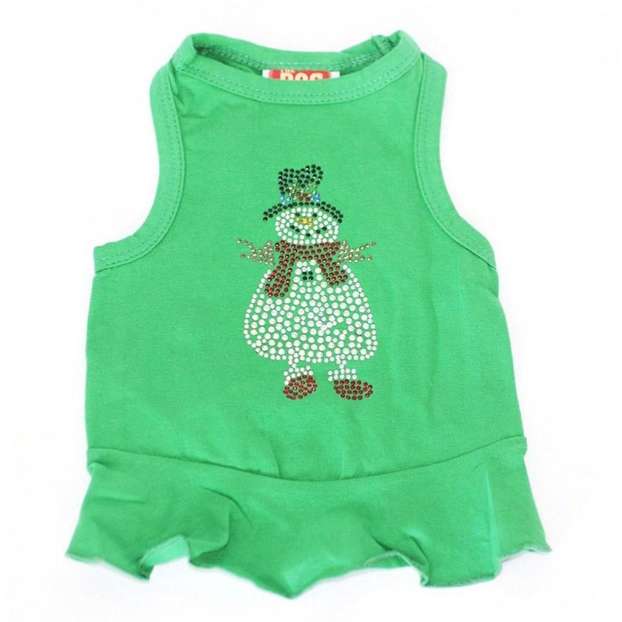 Rhinestone Snowman Holiday Dog Dress - Green