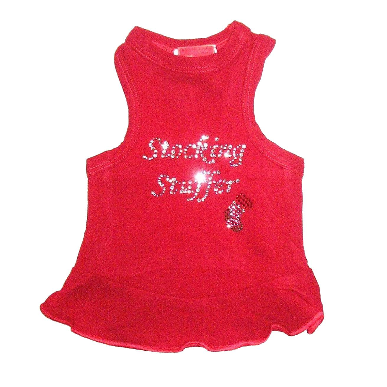 Stocking Stuffer Rhinestone Christmas Dog Dress - Red
