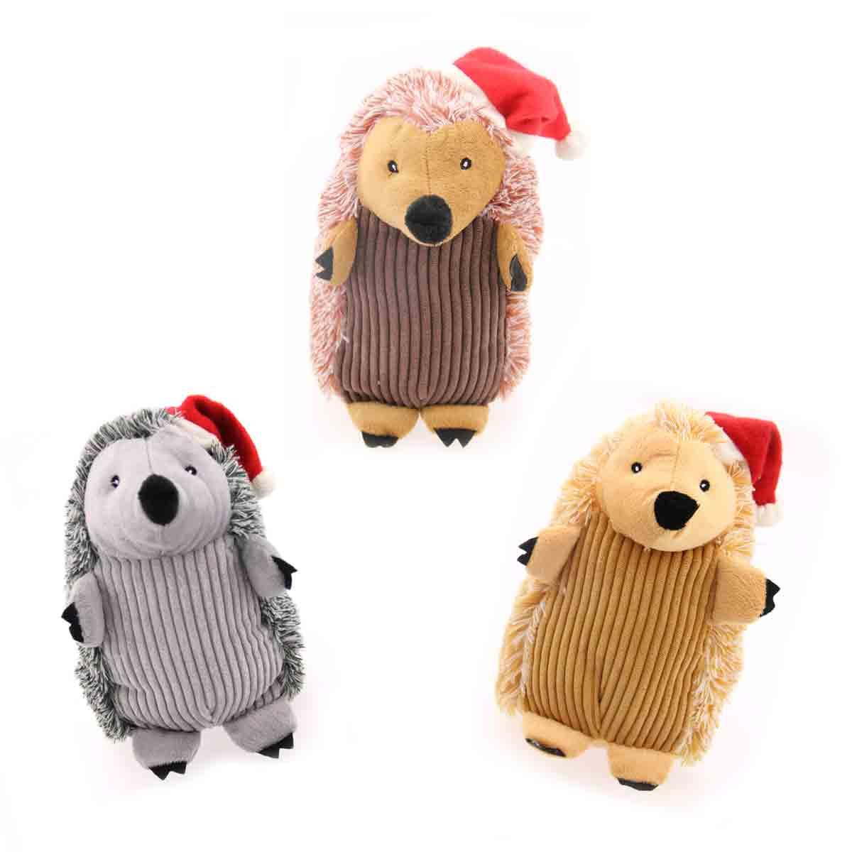 Christmas Hedgehog Dog Toy with Hat