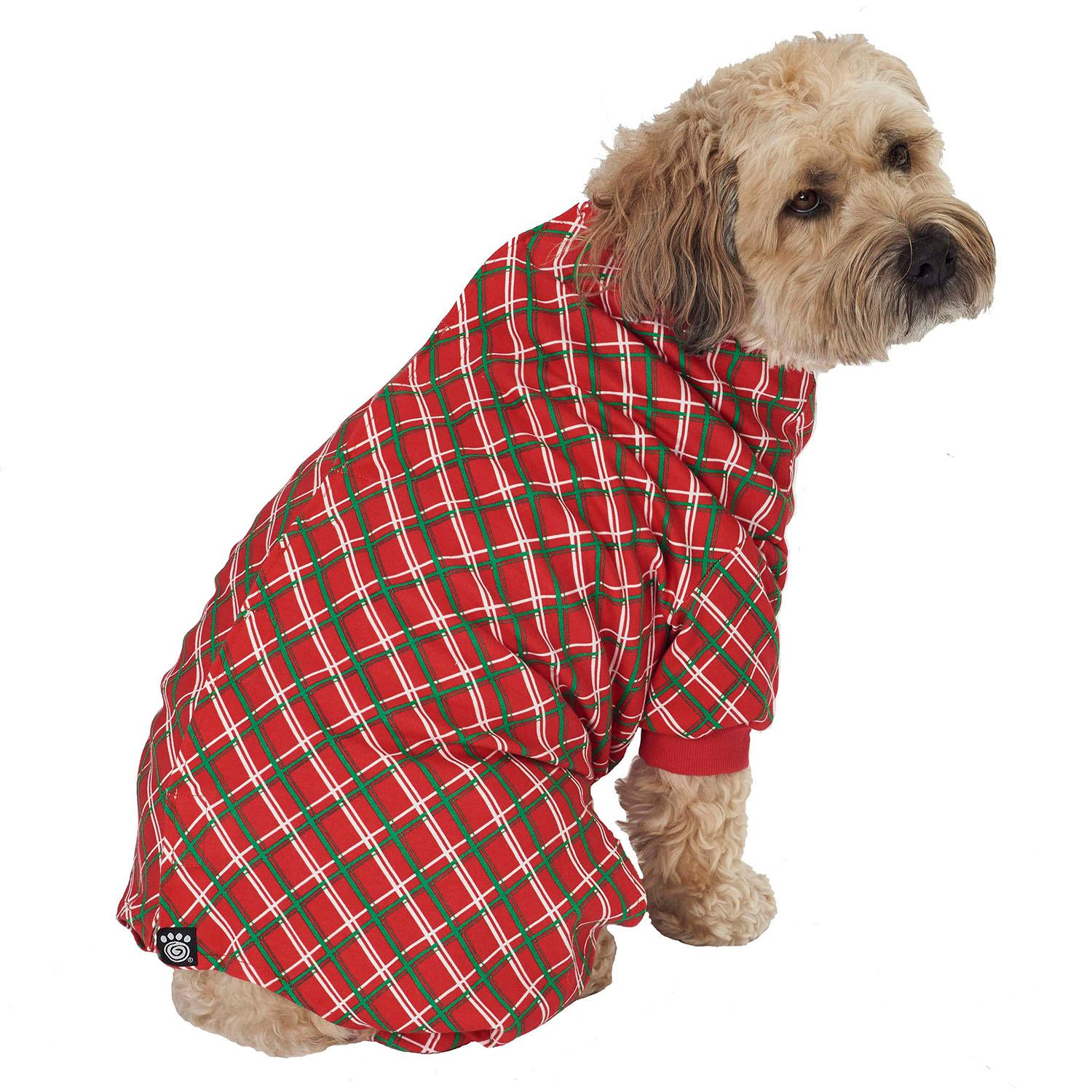 Christmas Pajamas For Dog.Christmas Plaid Dog Pajamas Red
