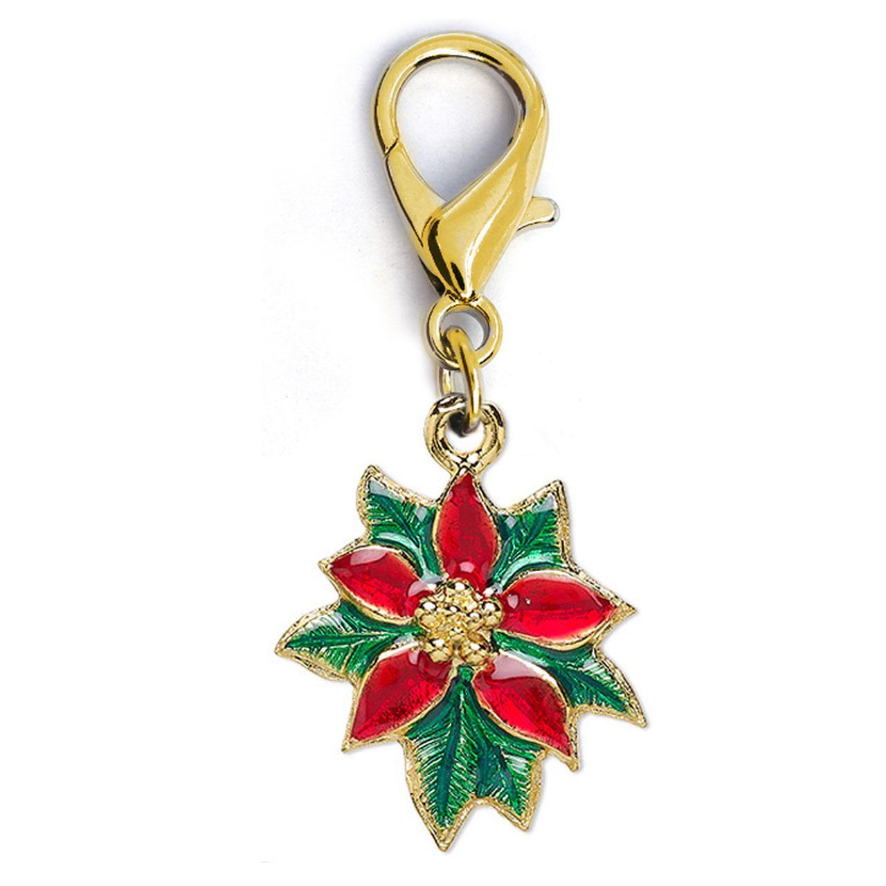 Christmas Poinsettia Dog Collar Charm by Diva Dog - Gold