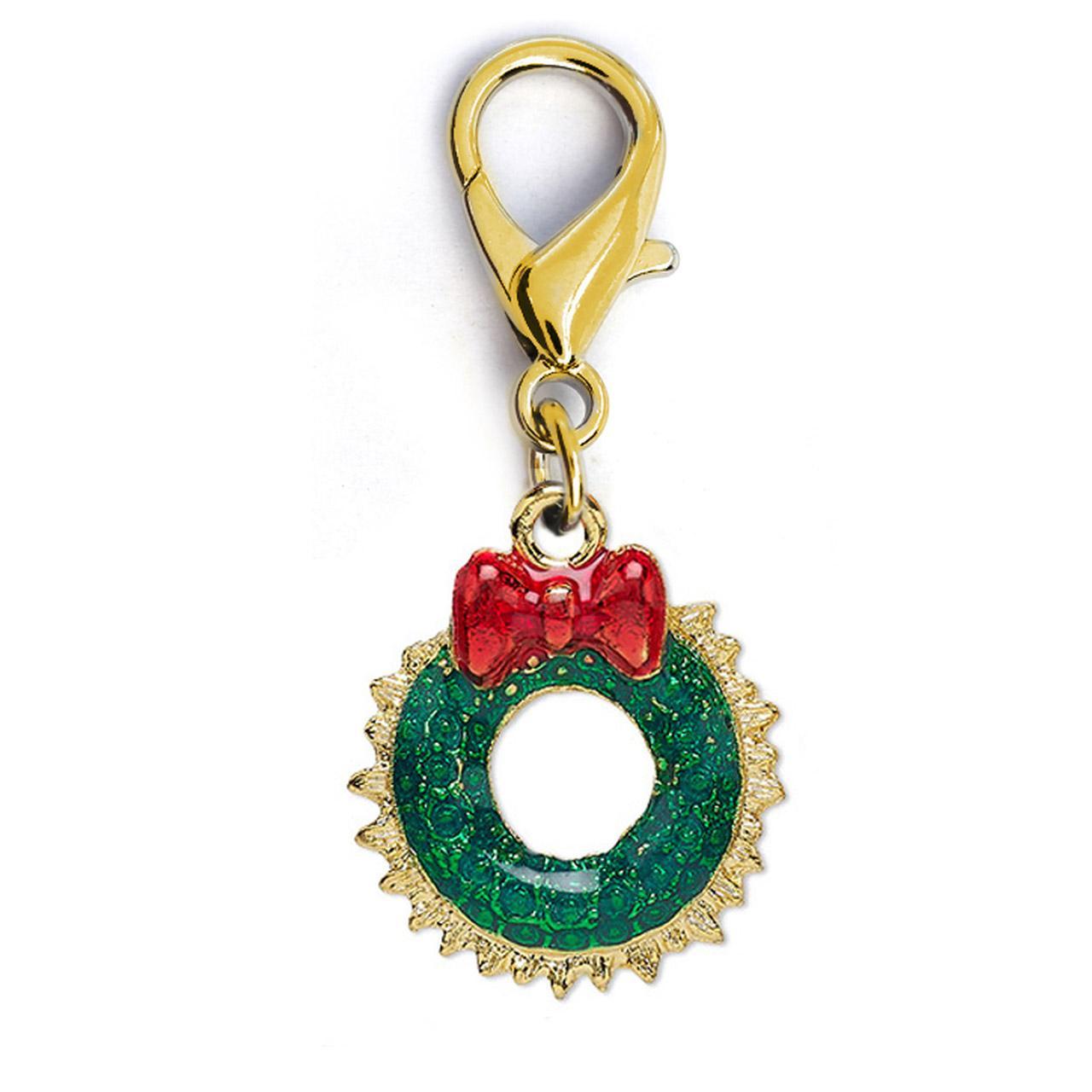Christmas Wreath Dog Collar Charm by Diva Dog - Gold