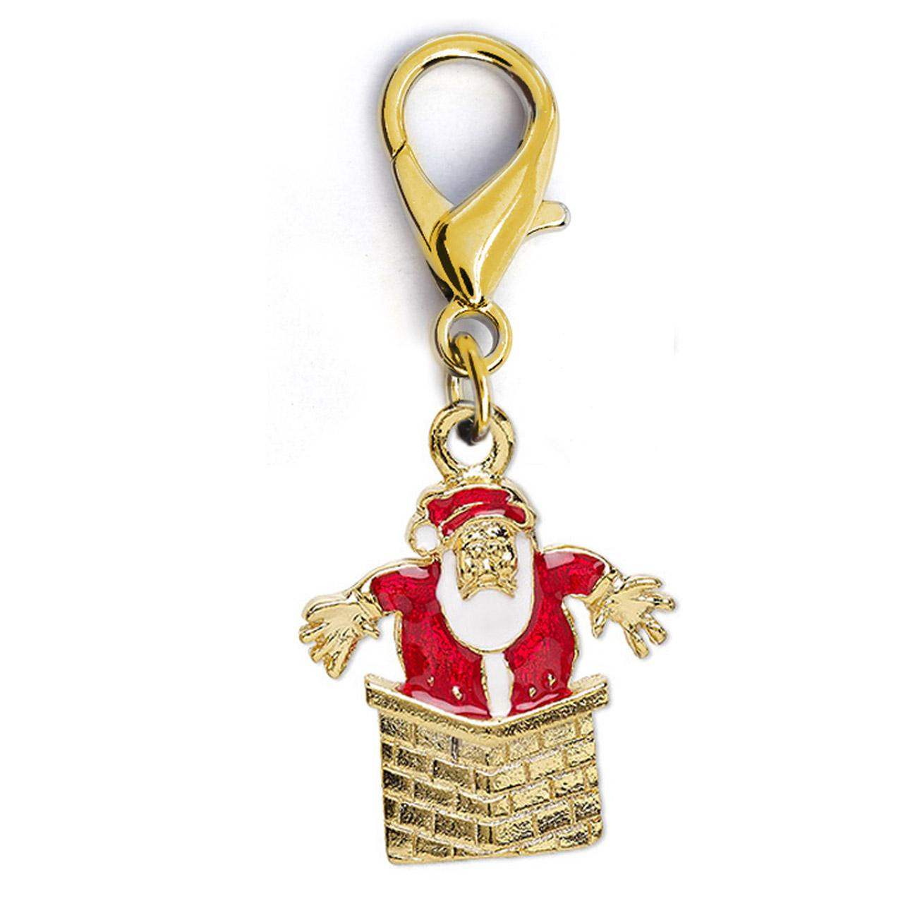 Christmas Santa in Chimney Dog Collar Charm by Diva Dog - Gold