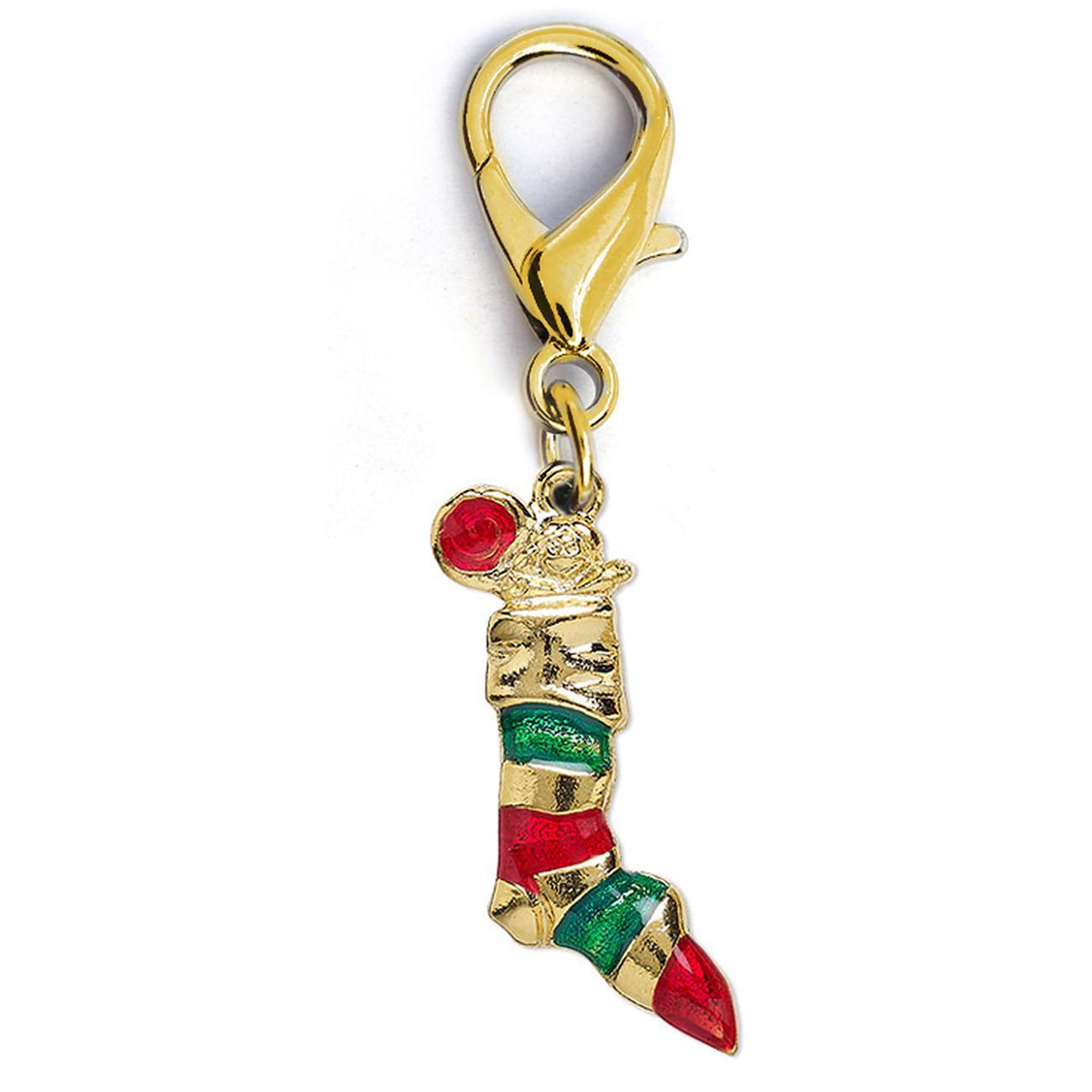 Christmas Stocking Dog Collar Charm by Diva Dog - Gold