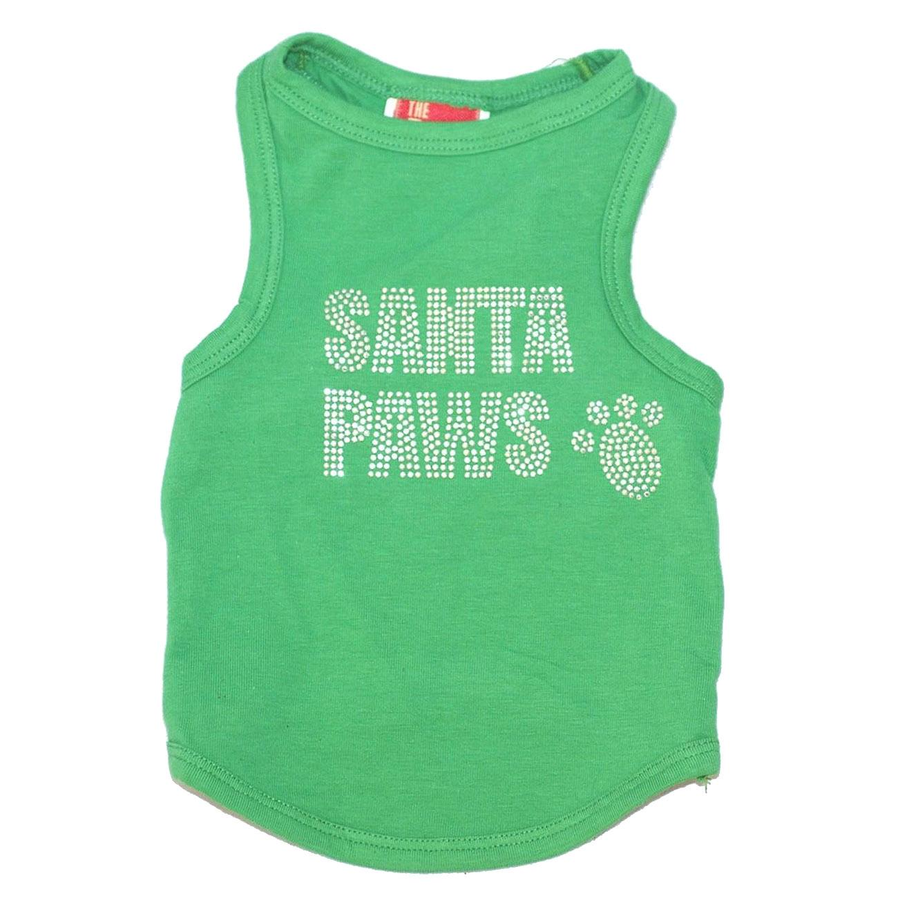 Rhinestone Santa Paws Christmas Dog Tank - Green