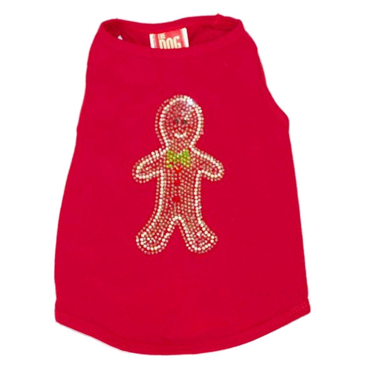 Rhinestone Gingerbread Man Christmas Dog Tank - Red