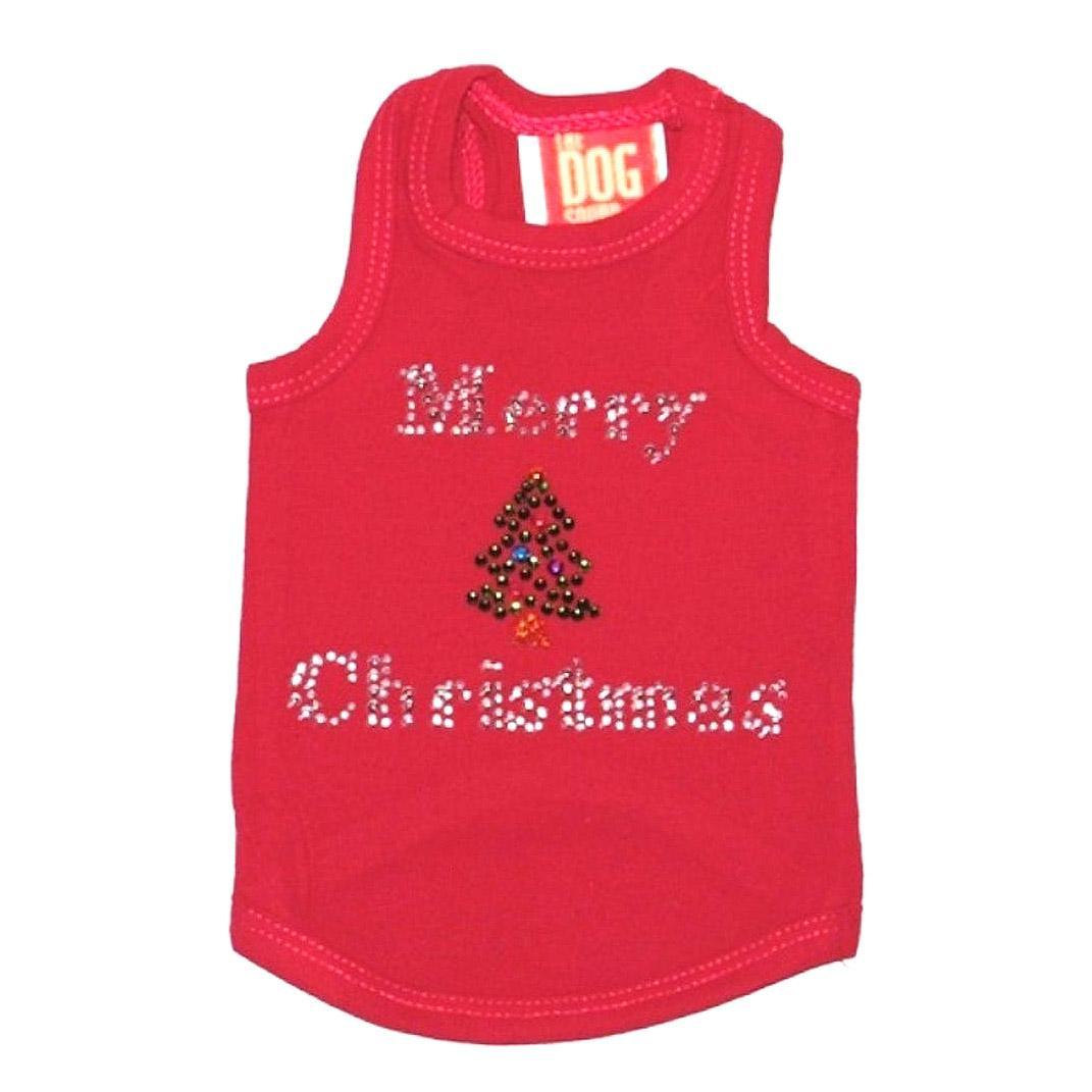 Merry Christmas Tree Rhinestone Holiday Dog Tank - Red