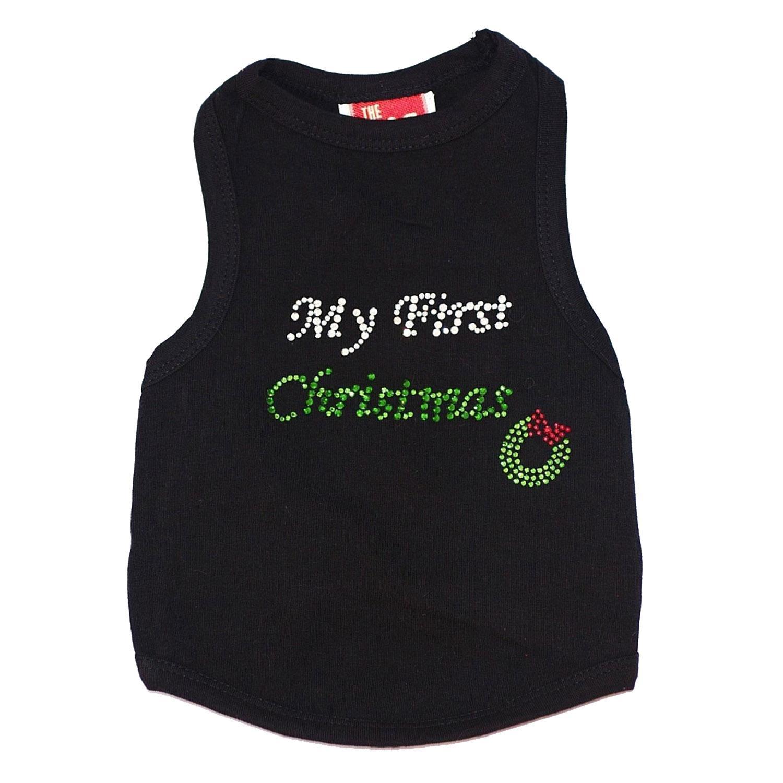 My First Christmas Rhinestone Dog Tank - Black