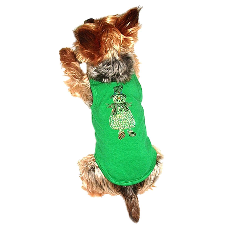 Rhinestone Snowman Holiday Dog Tank - Green