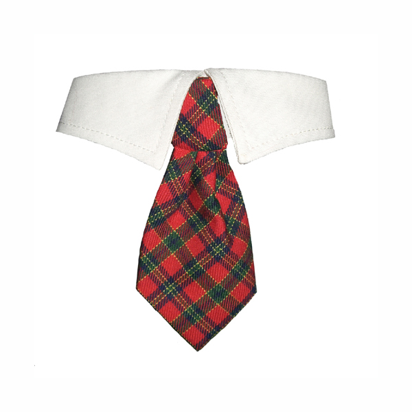 Christmas Tartan Dog Shirt Collar & Tie