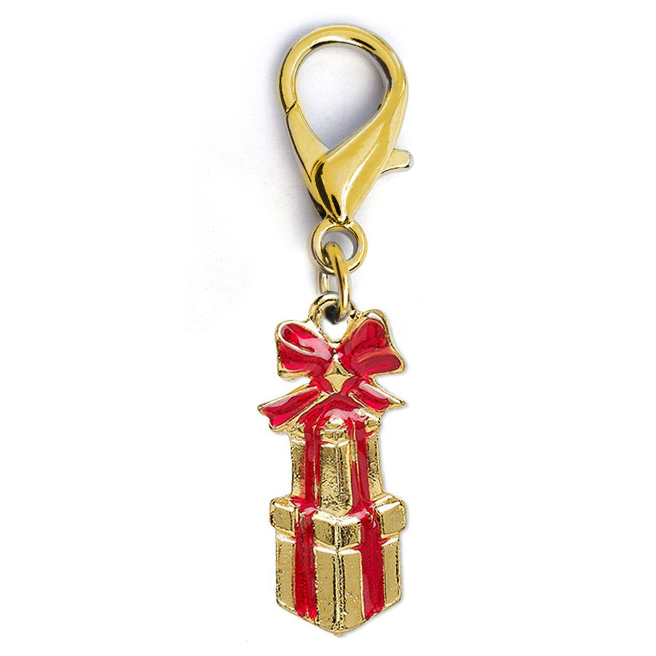 Christmas Presents Dog Collar Charm by Diva Dog - Gold