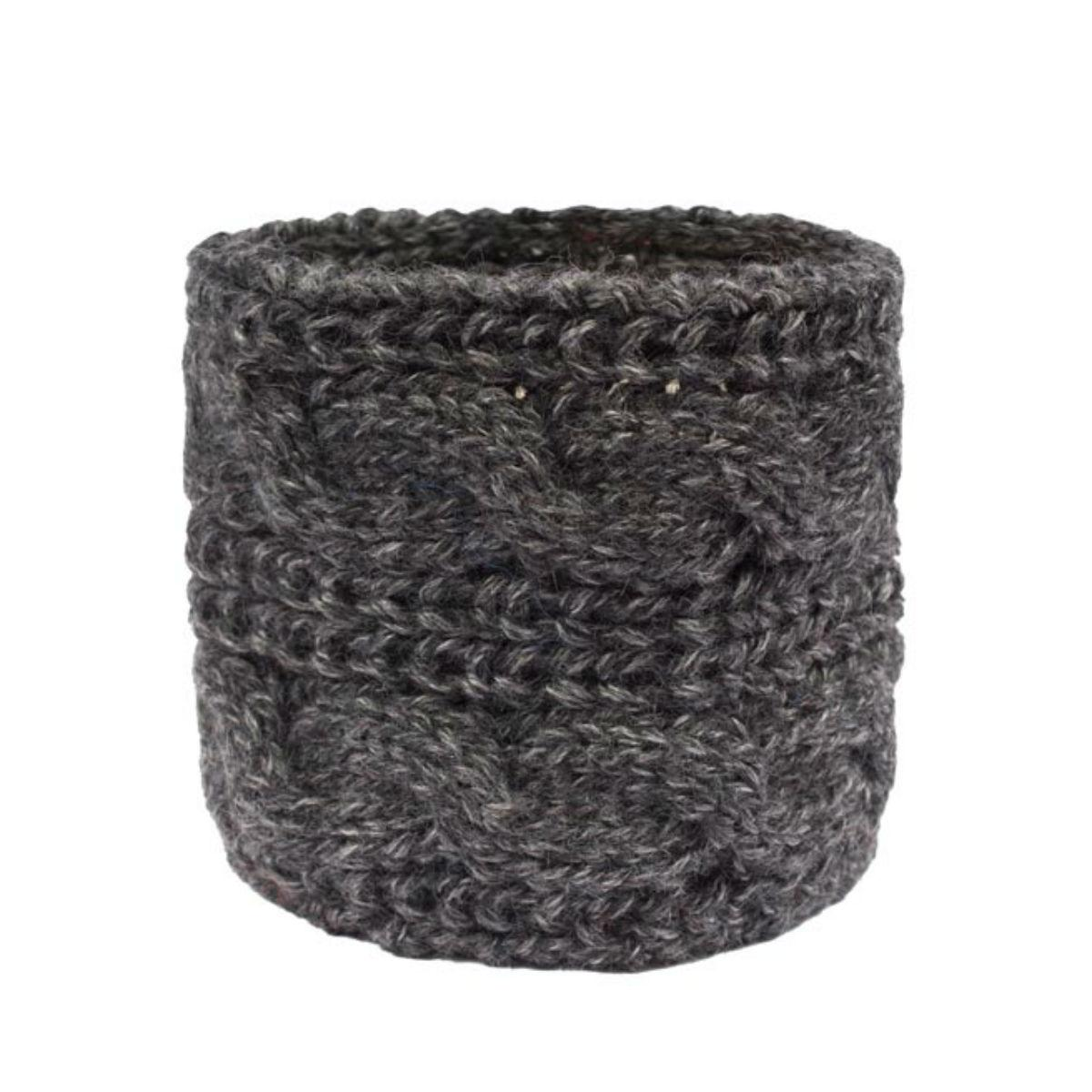 Chunky Cable Alpaca Dog Scarf by Alqo Wasi - Charcoal