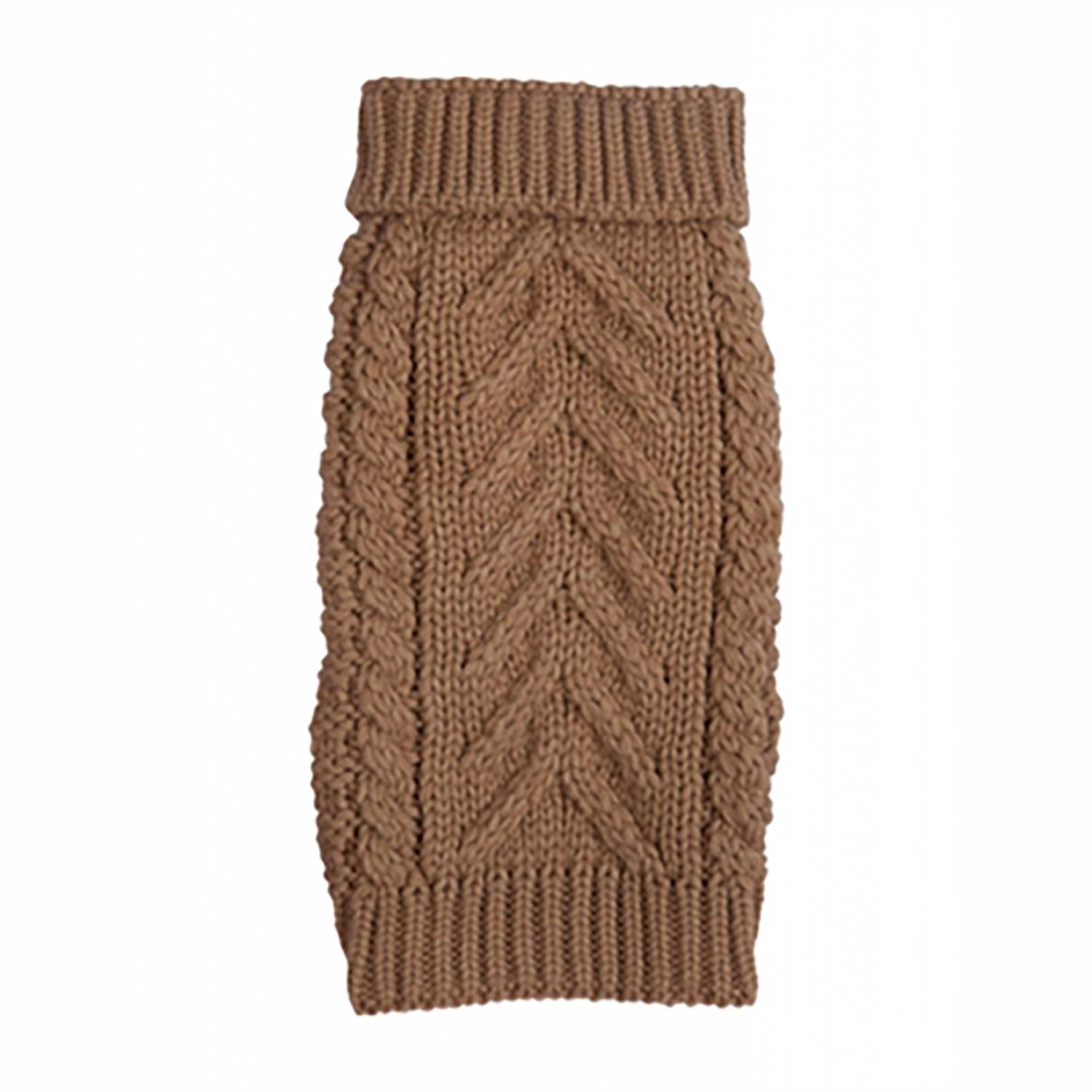 Chunky Turtleneck Dog Sweater - Camel