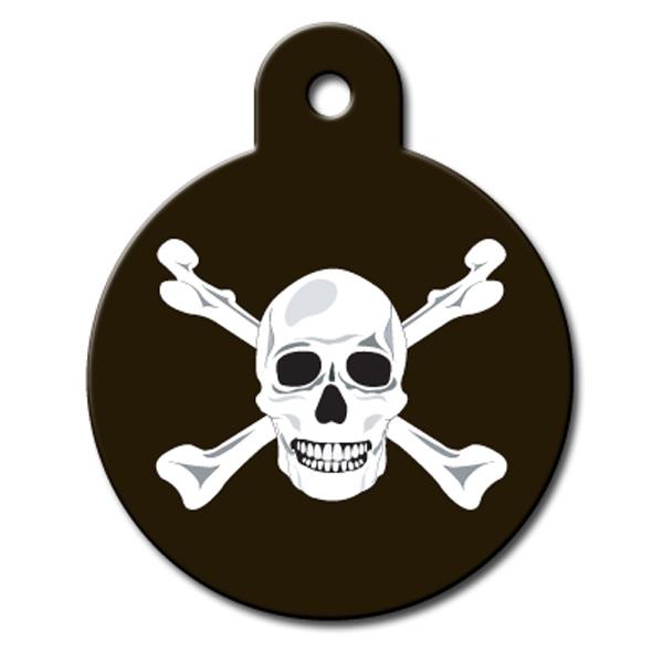 Circle Large Engravable Pet I.D. Tag - Skull & Crossbones