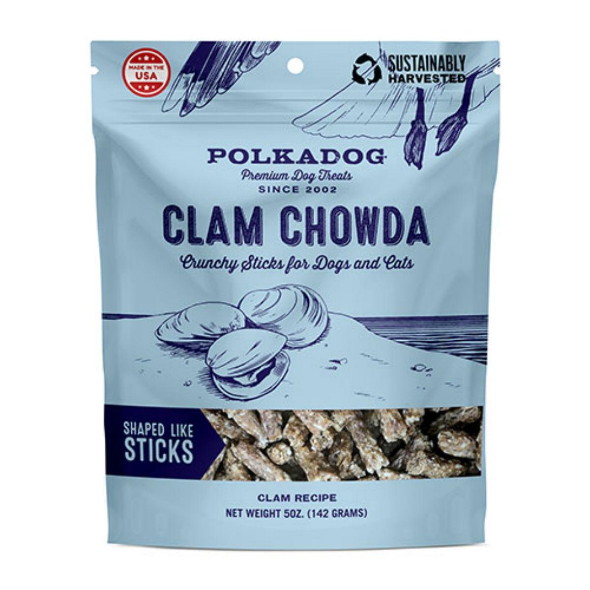 Clam Chowda Crunchy Sticks Pet Treats by Polka Dog
