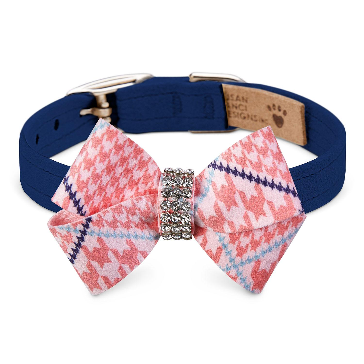 Peaches & Cream Glen Houndstooth Nouveau Bow Luxury Dog Collar by Susan Lanci - Indigo