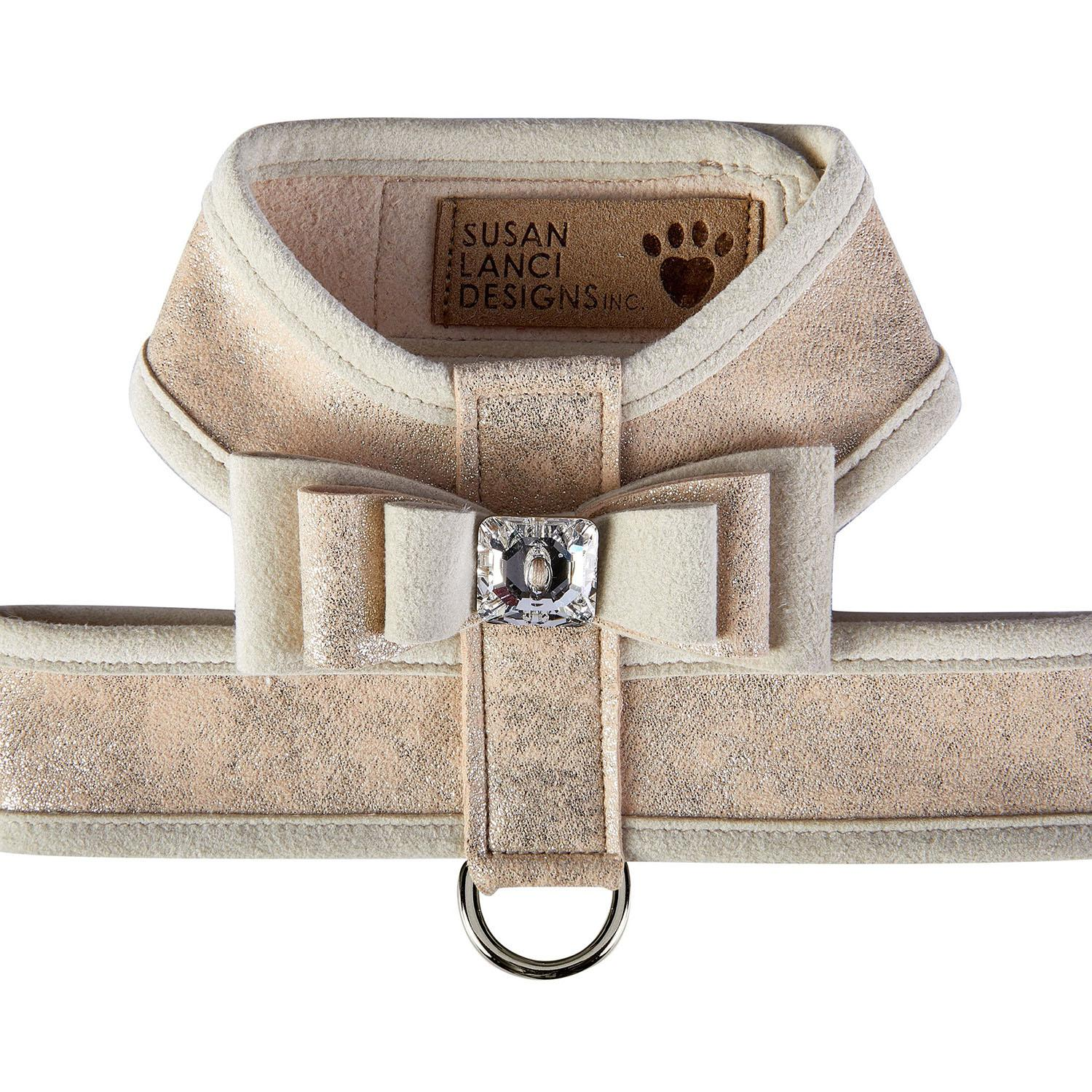 Champagne Glitzerati Tinkie Dog Harness with Really Big Bow and Doe Trim by Susan Lanci