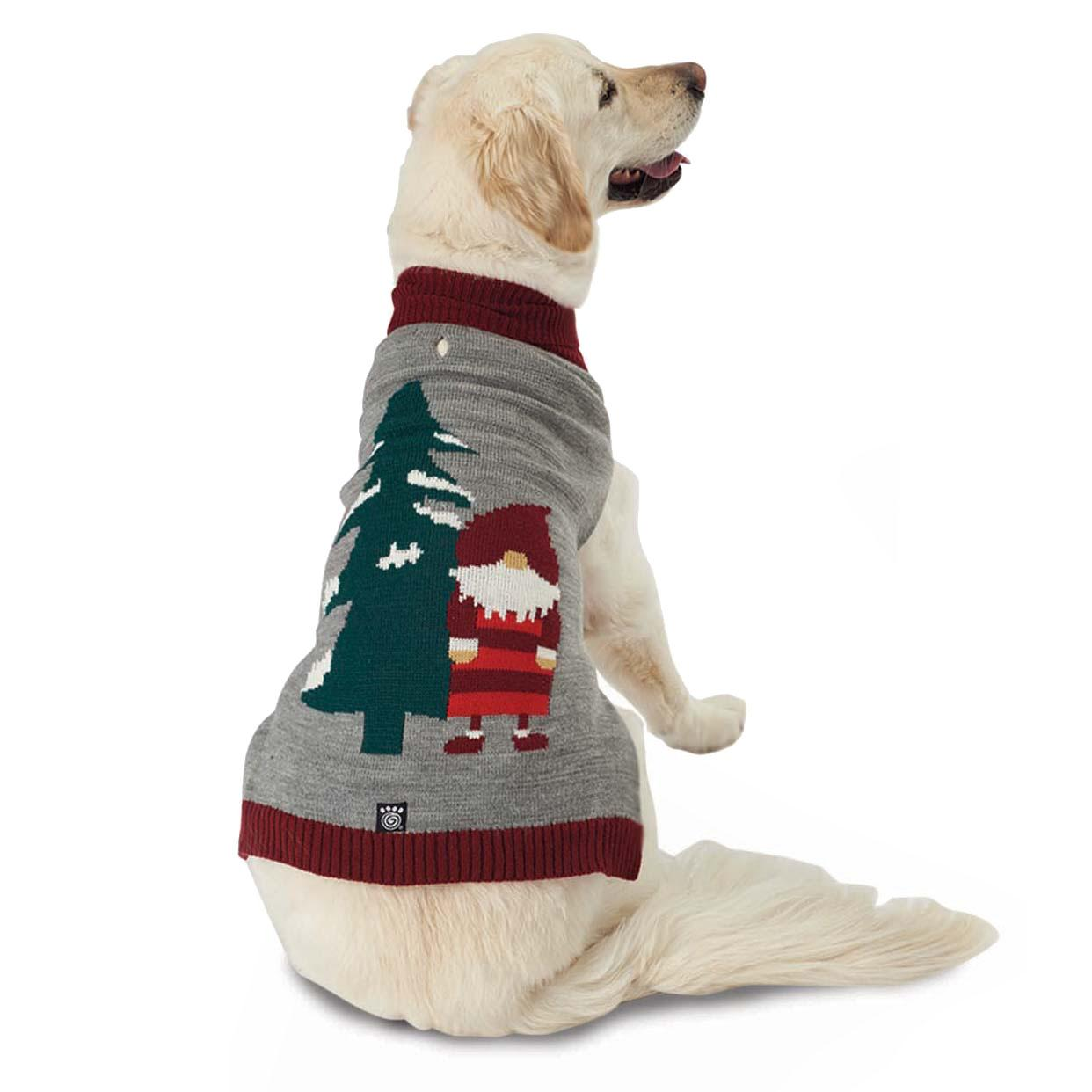 Claus' Santa Gnome Dog Sweater - Gray Heather