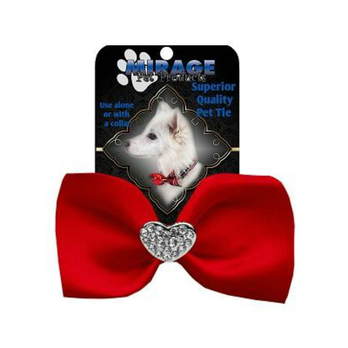 Mirage Clear Crystal Heart Chipper Dog Bow Tie - Red