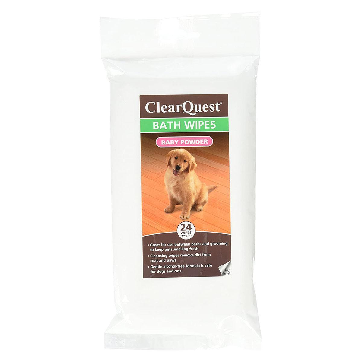 ClearQuest Pet Bath Wipes - Baby Powder