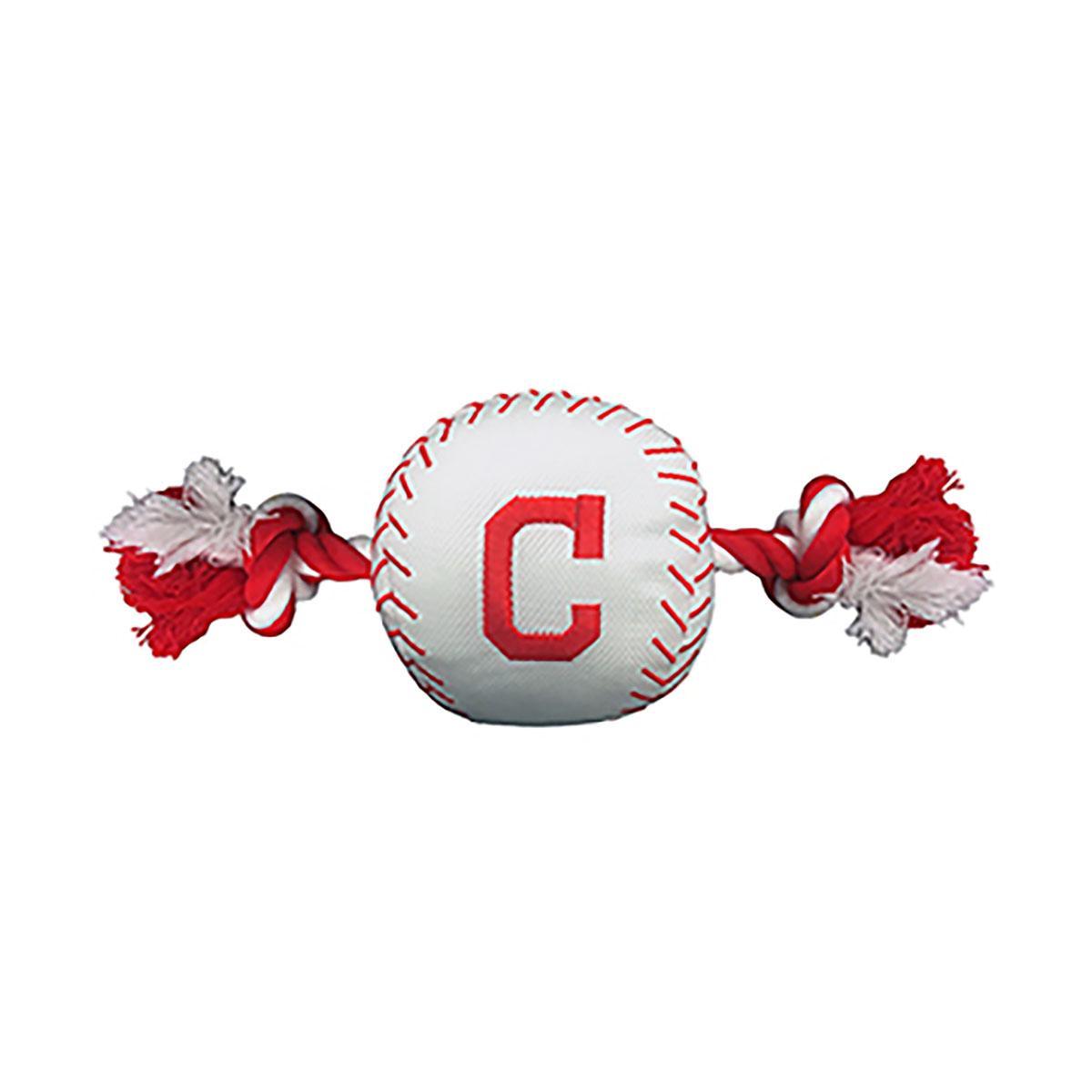Cleveland Indians Nylon Plush Baseball Rope Dog Toy