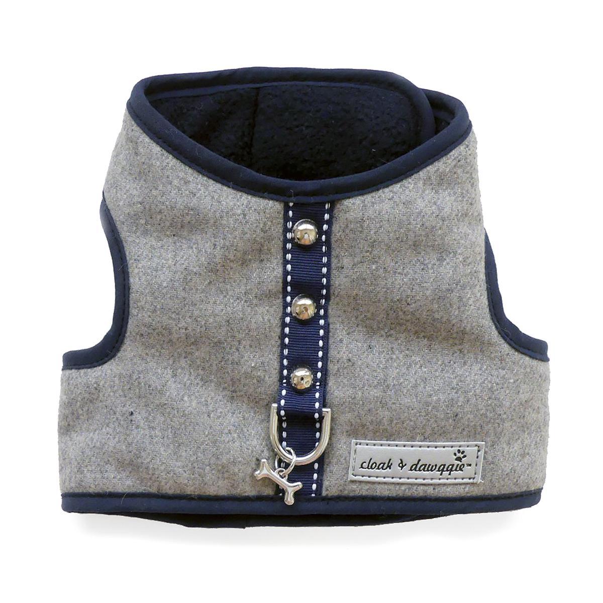 Cloak & Dawggie Flannel Teacup Dog Harness - Navy