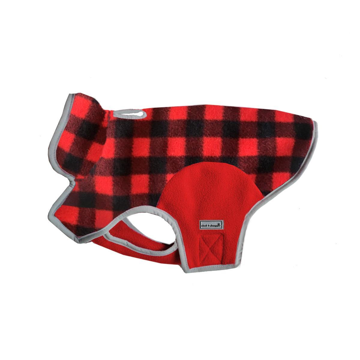 Cloak & Dawggie Precision Fit Fleece Dog Jacket - Red Buffalo