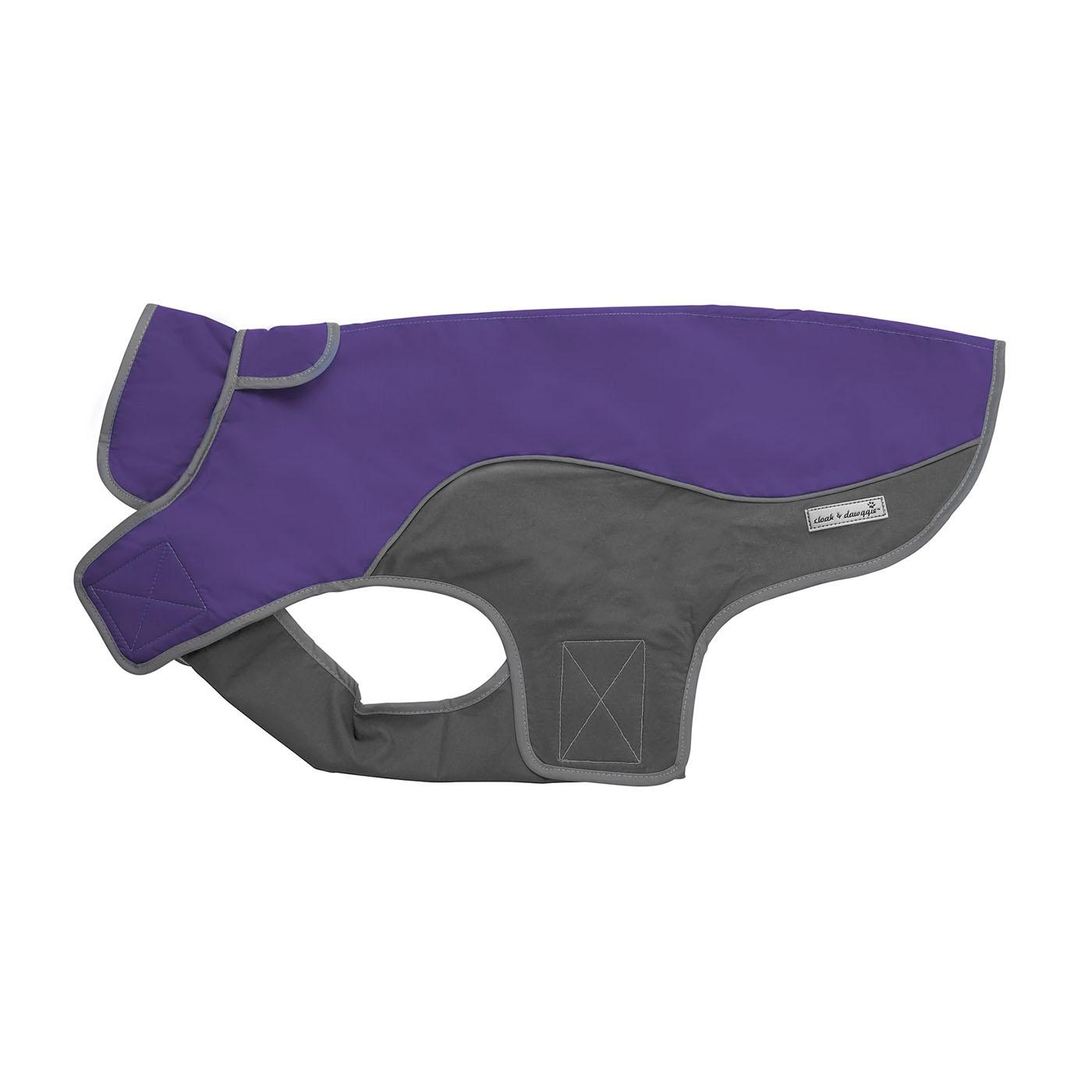 Cloak & Dawggie Precision Fit Sport Dog Parka - Purple and Grey