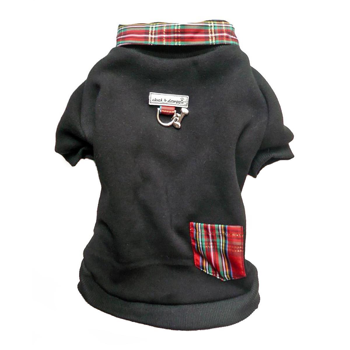 Cloak & Dawggie Holiday Tartan Trim Dog Sweatshirt