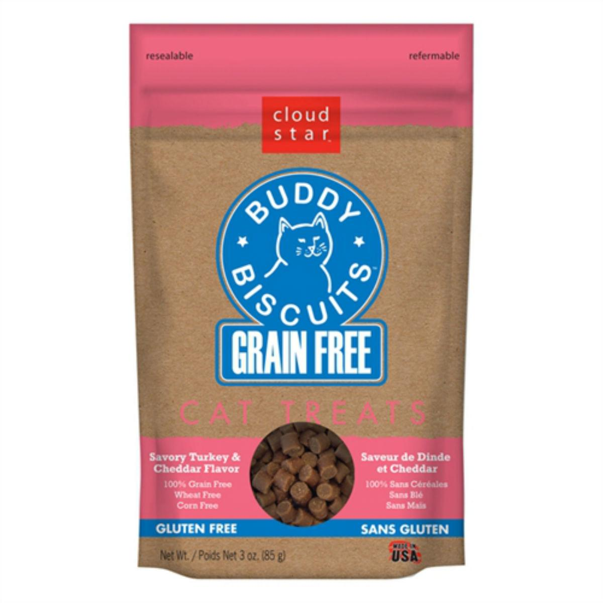 Buddy Biscuits Grain-Free Cat Treats - Savory Turkey & Cheddar