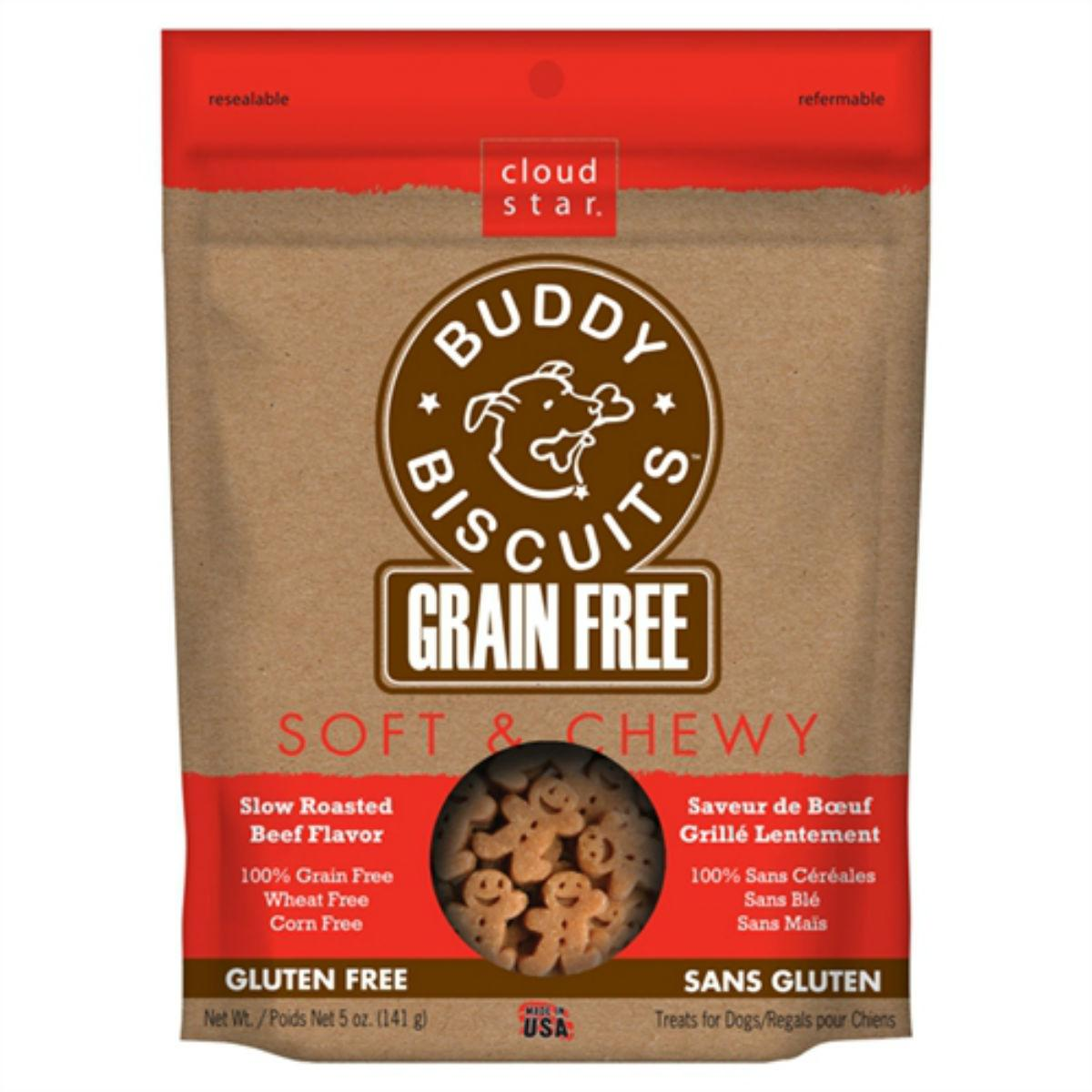 Buddy Biscuits Grain-Free Soft & Chewy Dog Treat - Slow Roasted Beef