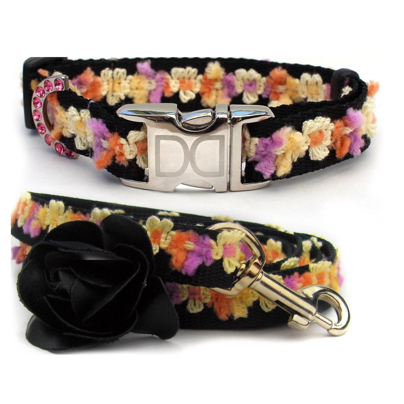Coco Maize Small Dog Collar and Leash Set by Diva Dog
