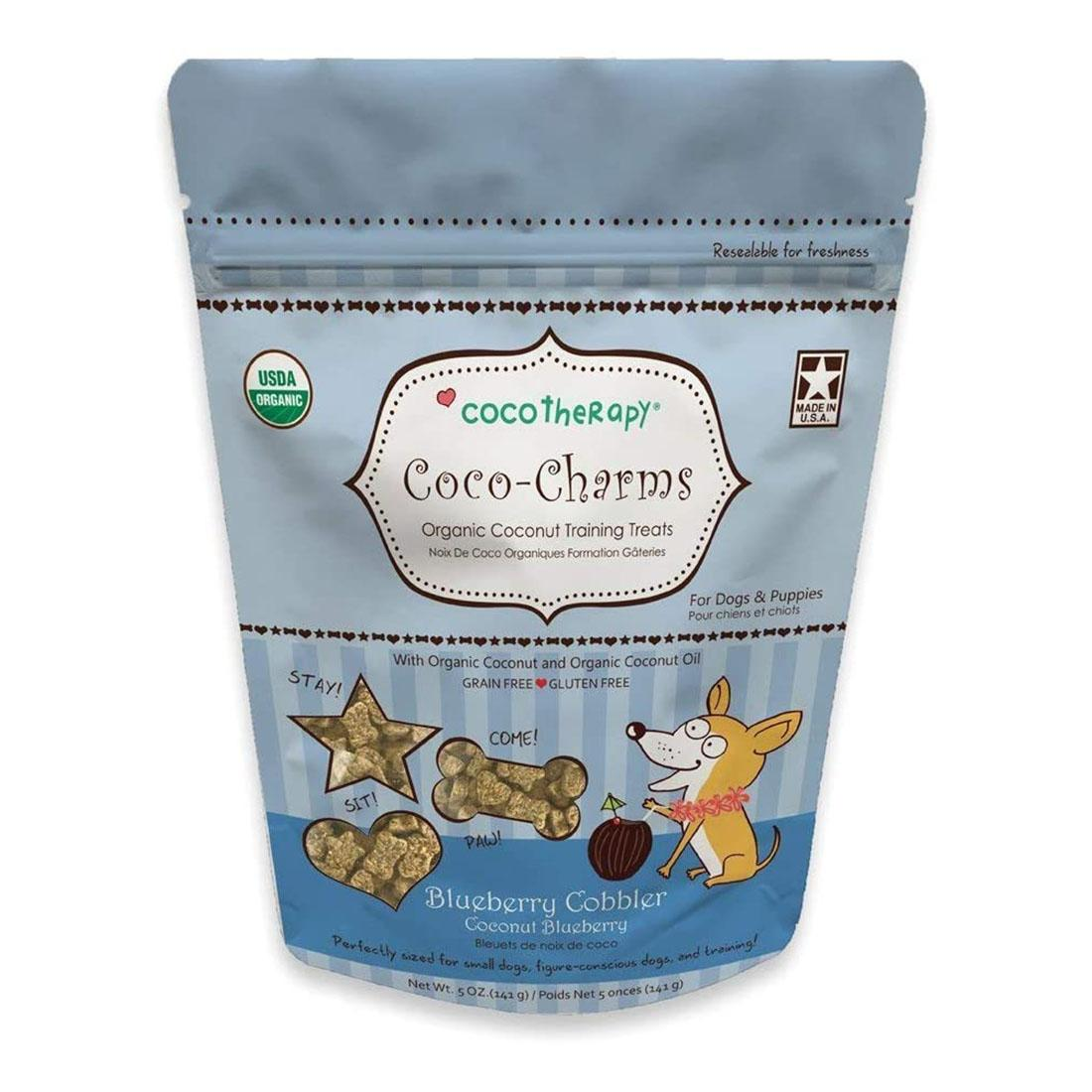 CocoTherapy Coco-Charms Organic Training Dog Treats - Coconut Blueberry Cobbler