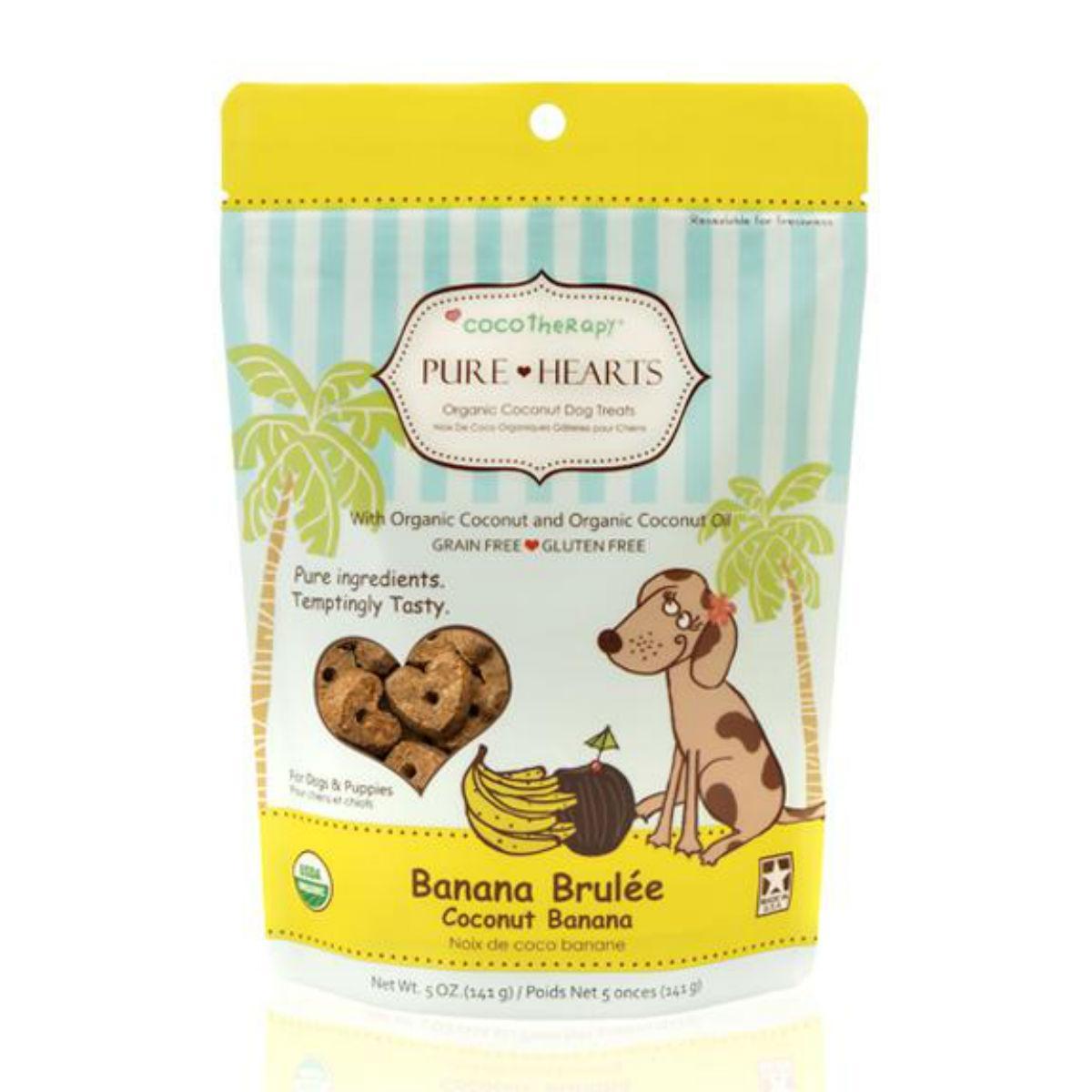 CocoTherapy Pure Hearts Organic Dog Treats - Coconut Banana Brulee