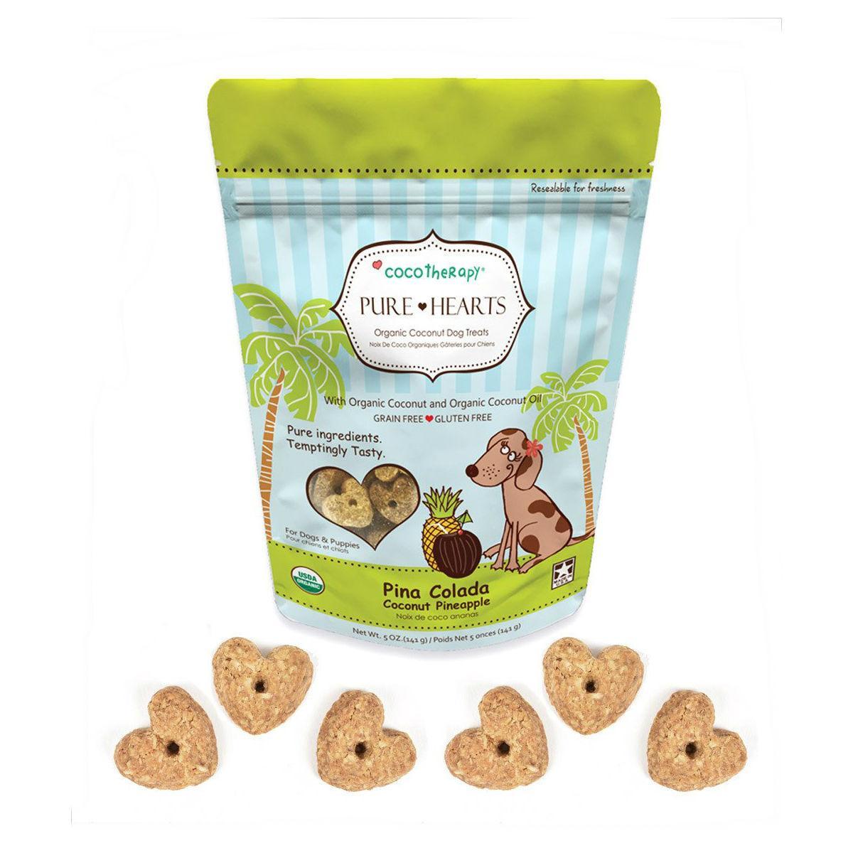 CocoTherapy Pure Hearts Organic Dog Treats - Pina Colada