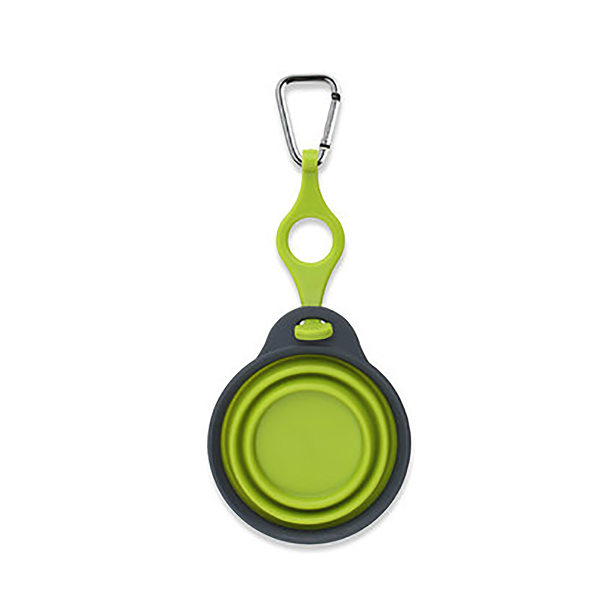 Collapsible Travel Cup with Bottle Holder and Carabiner - Green
