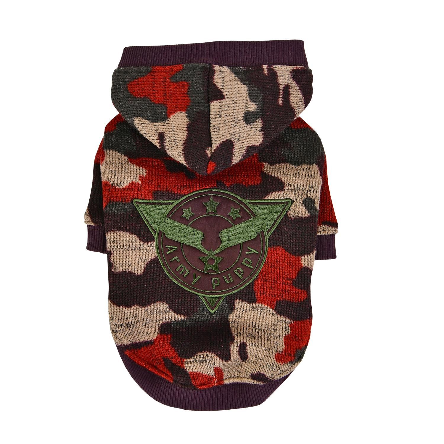 Colonel Hooded Dog Shirt by Puppia - Wine Camo