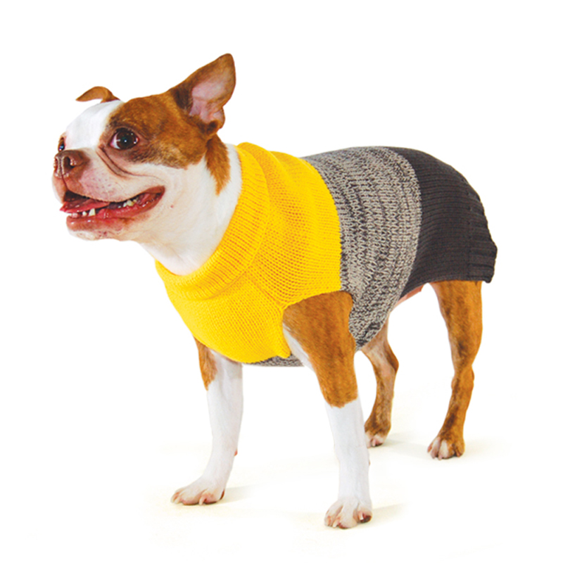 Color Block Dog Sweater by Dogo - Yellow/Gray