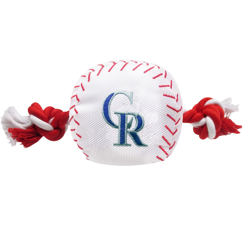 Colorado Rockies Nylon Plush Baseball Rope Dog Toy
