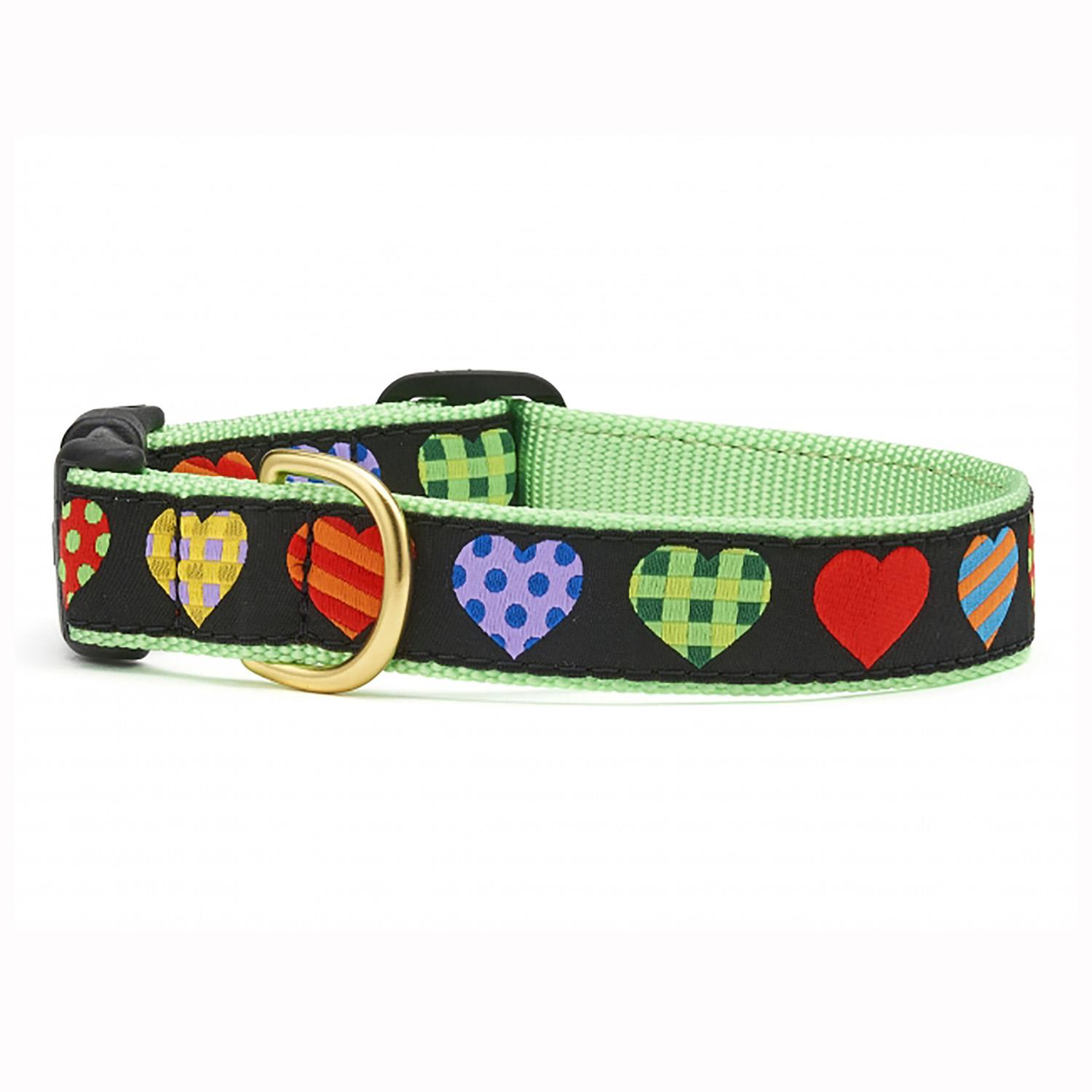 Colorful Hearts Dog Collar by Up Country