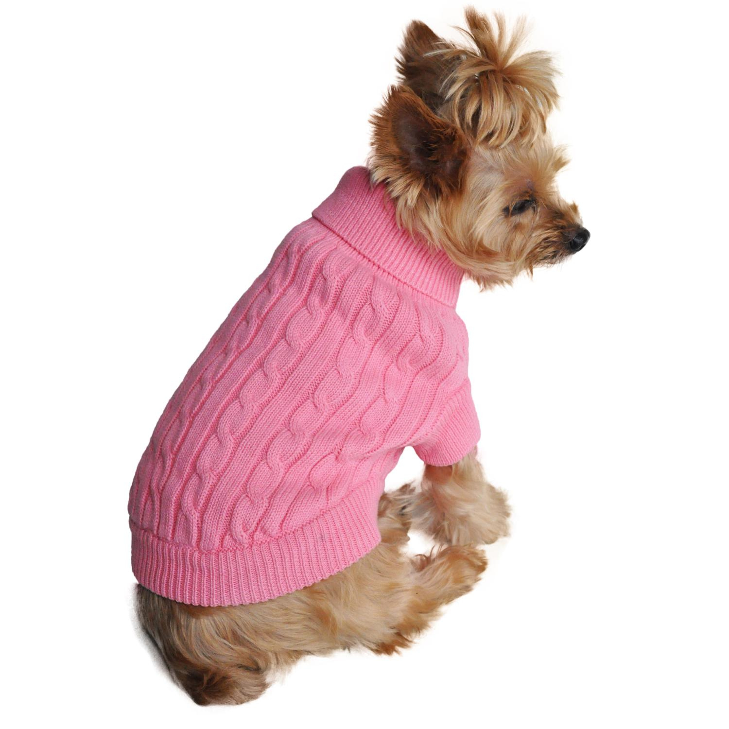 Cable Knit Dog Sweater by Doggie Design - Candy Pink