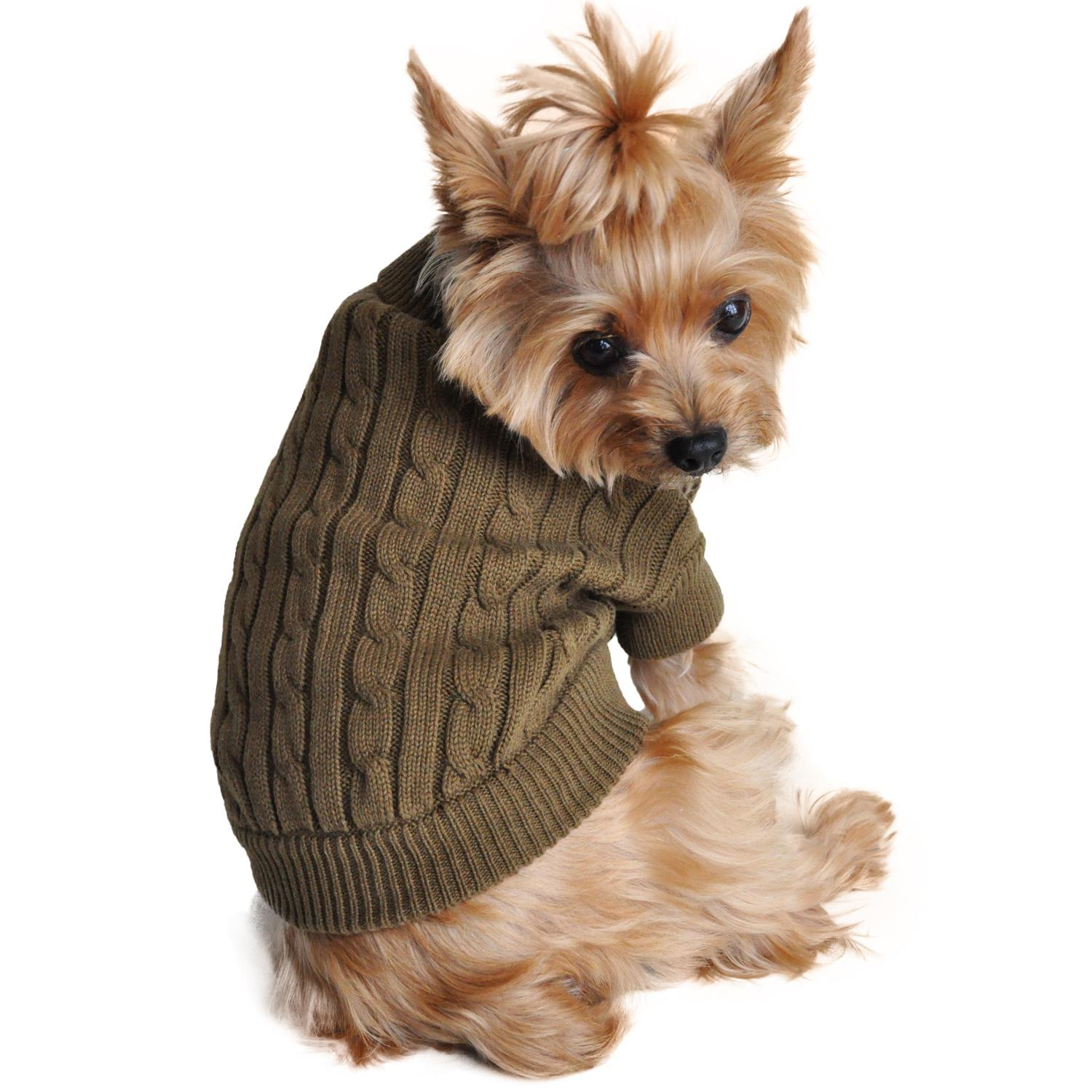 Cable Knit Dog Sweater by Doggie Design - Herb Green