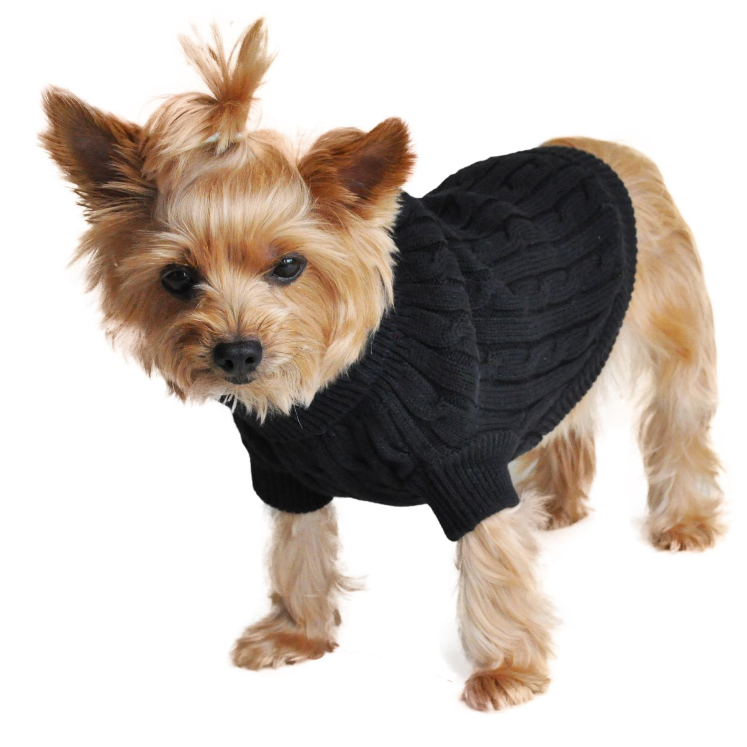 Cable Knit Dog Sweater by Doggie Design - Jet Black