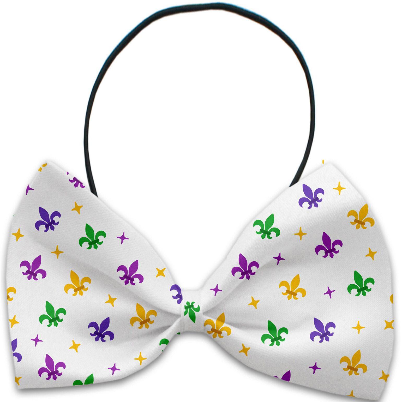 Mirage Confetti Fleur de Lis Mardi Gras Dog Bow Tie