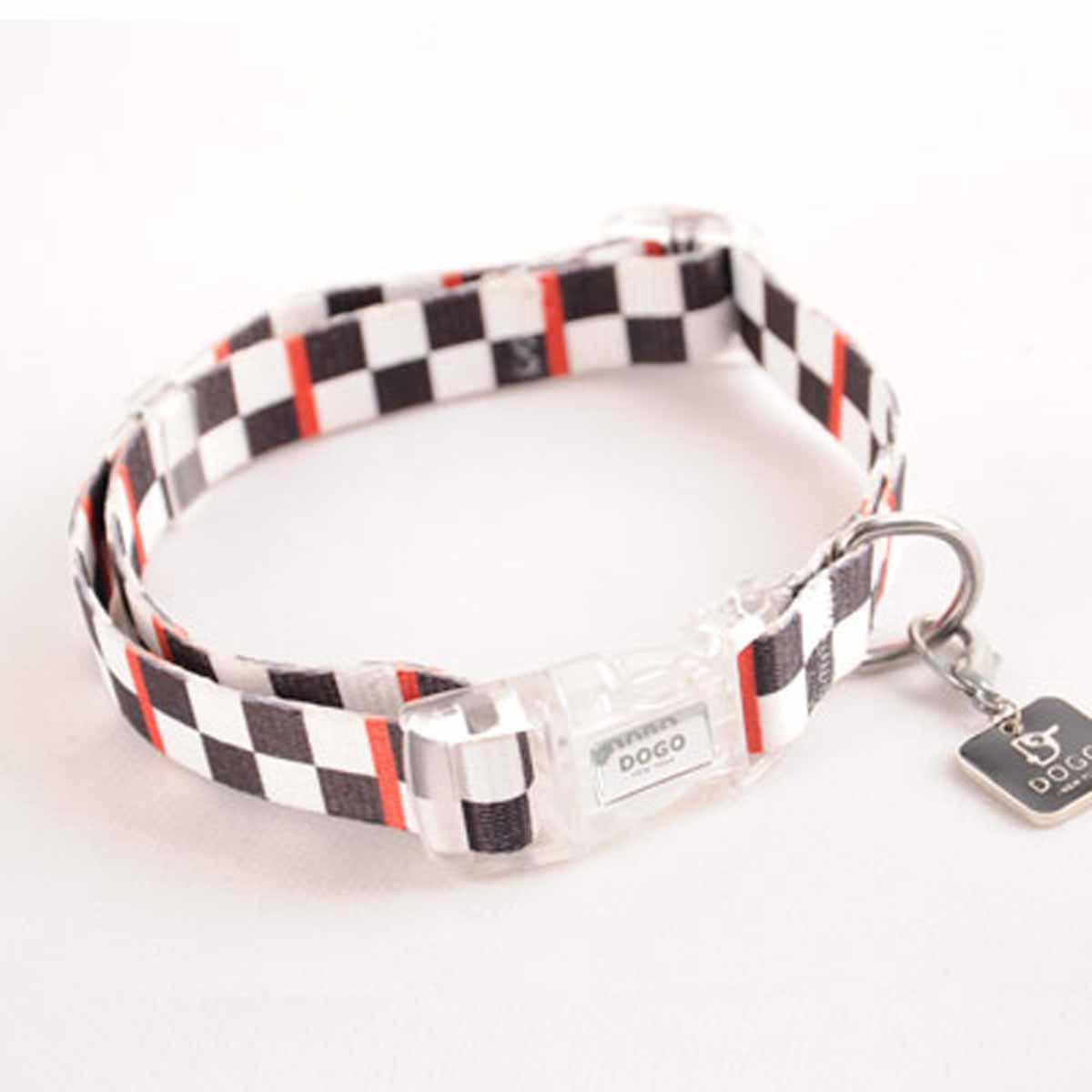 Contempo Dog Collar by Dogo - Black Checkered