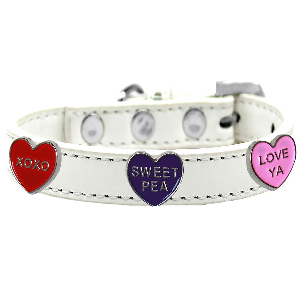 Conversation Hearts Widget Dog Collar - White