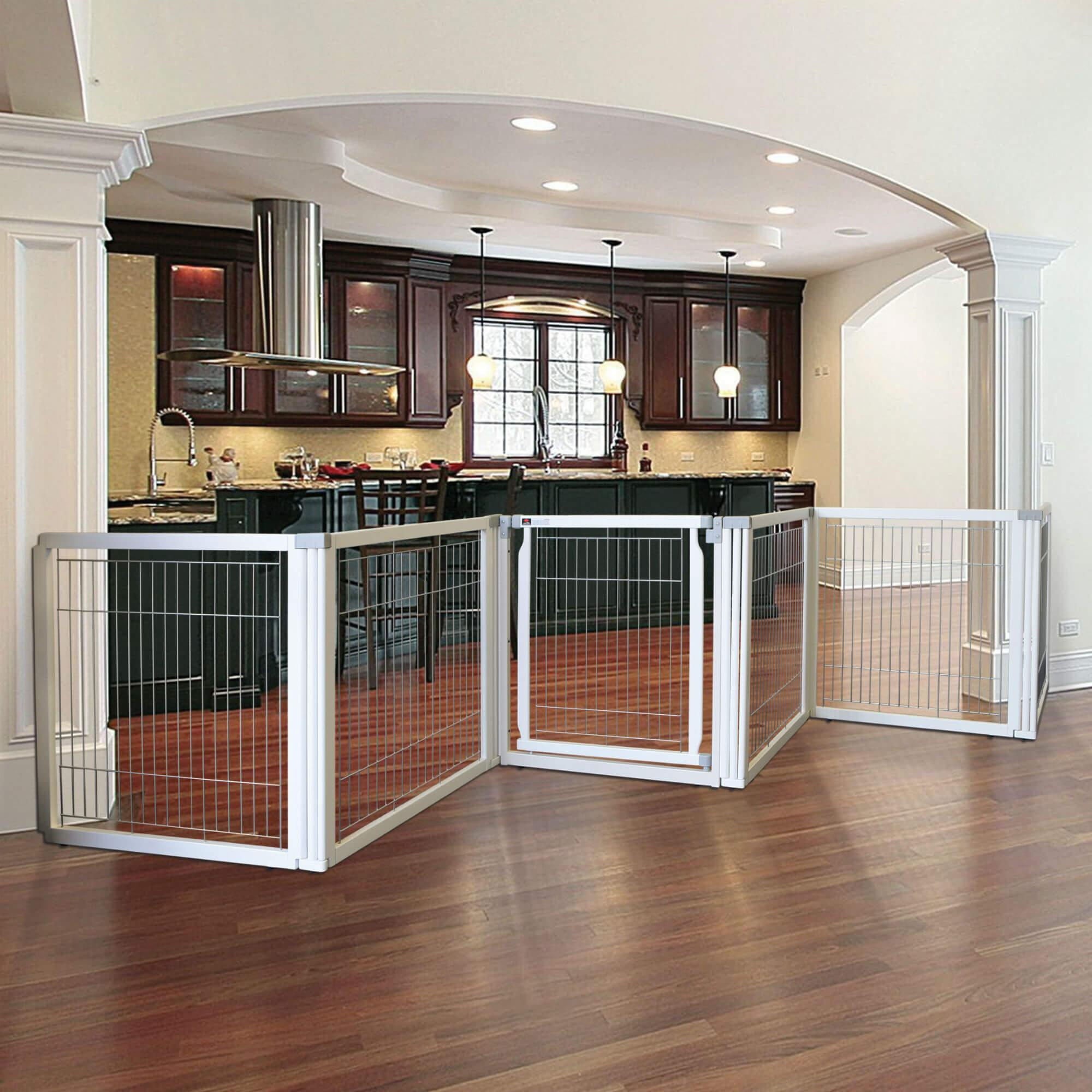 Convertible Elite Dog Gate - 6 Panel - Origami White