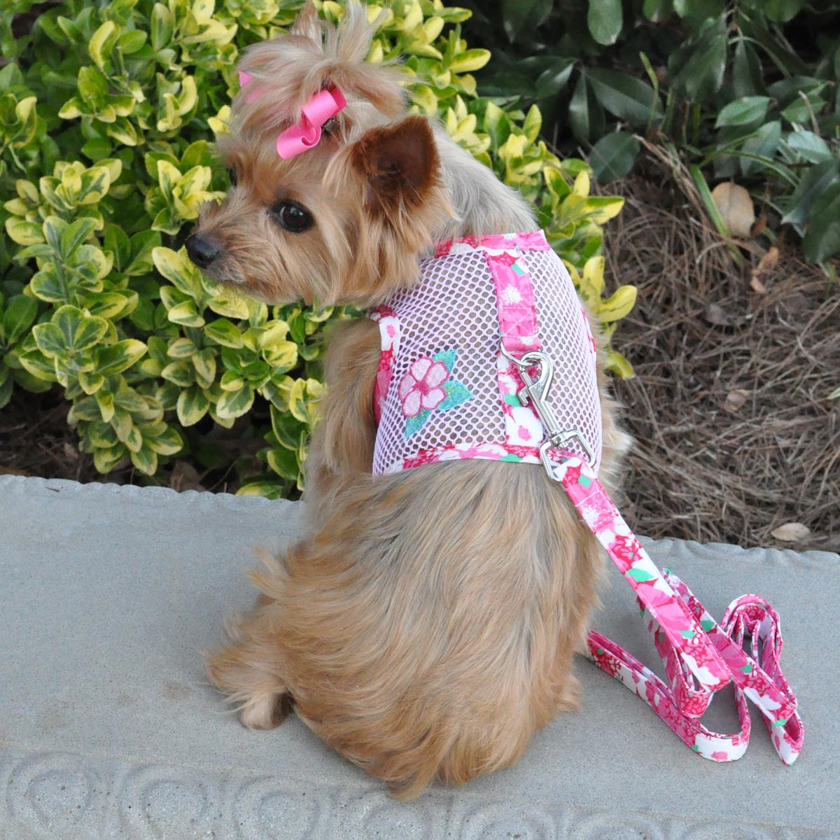 Cool Mesh Dog Harness by Doggie Design - Hawaiian Hibiscus Pink