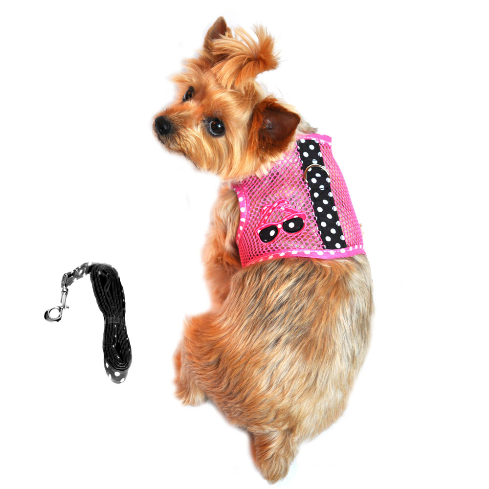 Cool Mesh Dog Harness Under the Sea Collection by Doggie Design - Pink and Black Polka Dot Sunglasses